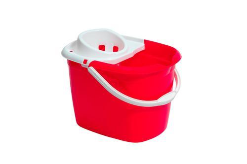 Plastic Mop Bucket With Wringer Red Single Bucket 3P