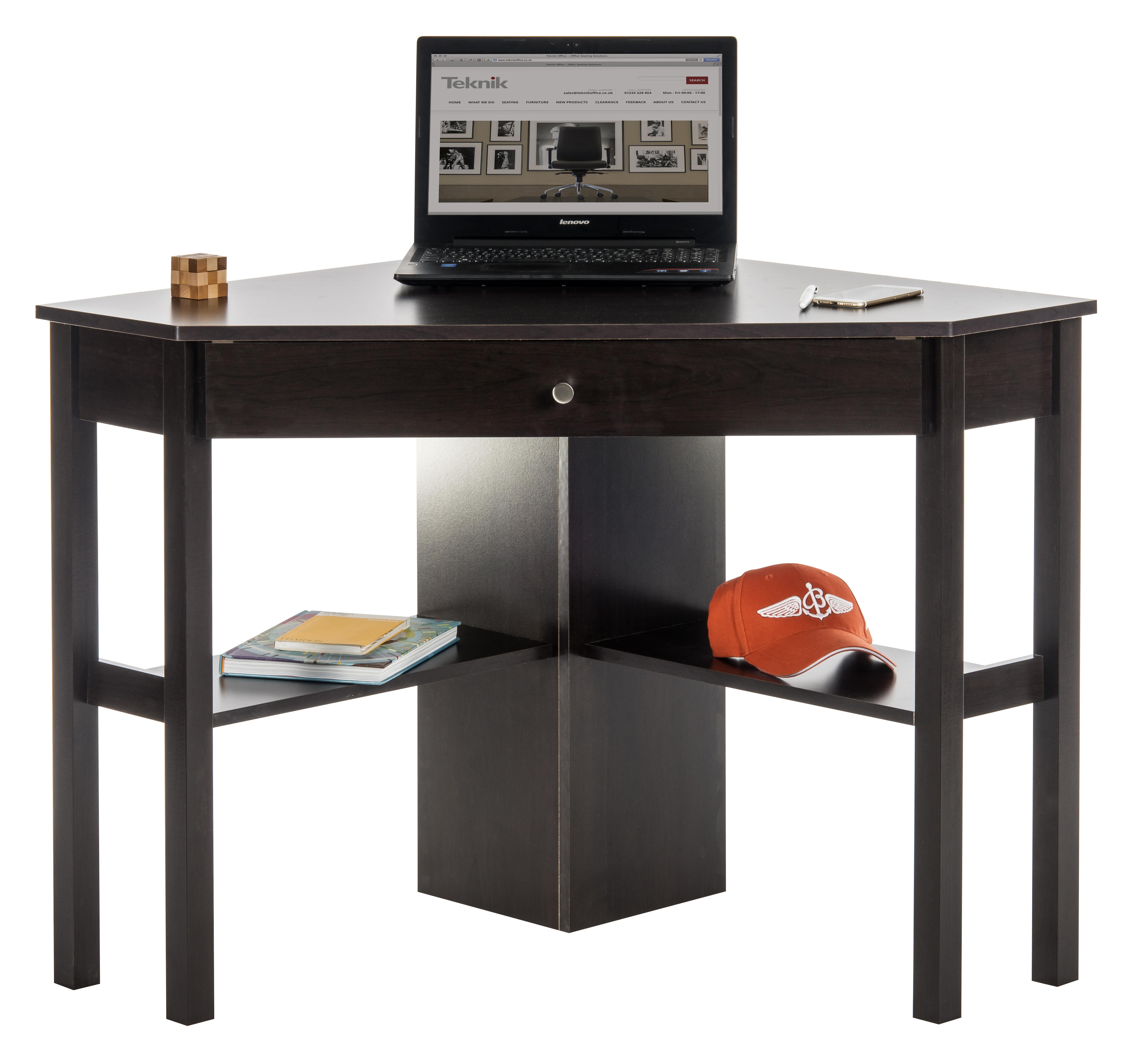 Teknik Office Cinnamon Cherry Effect Home Office Corner Desk With Keyboard Drawer