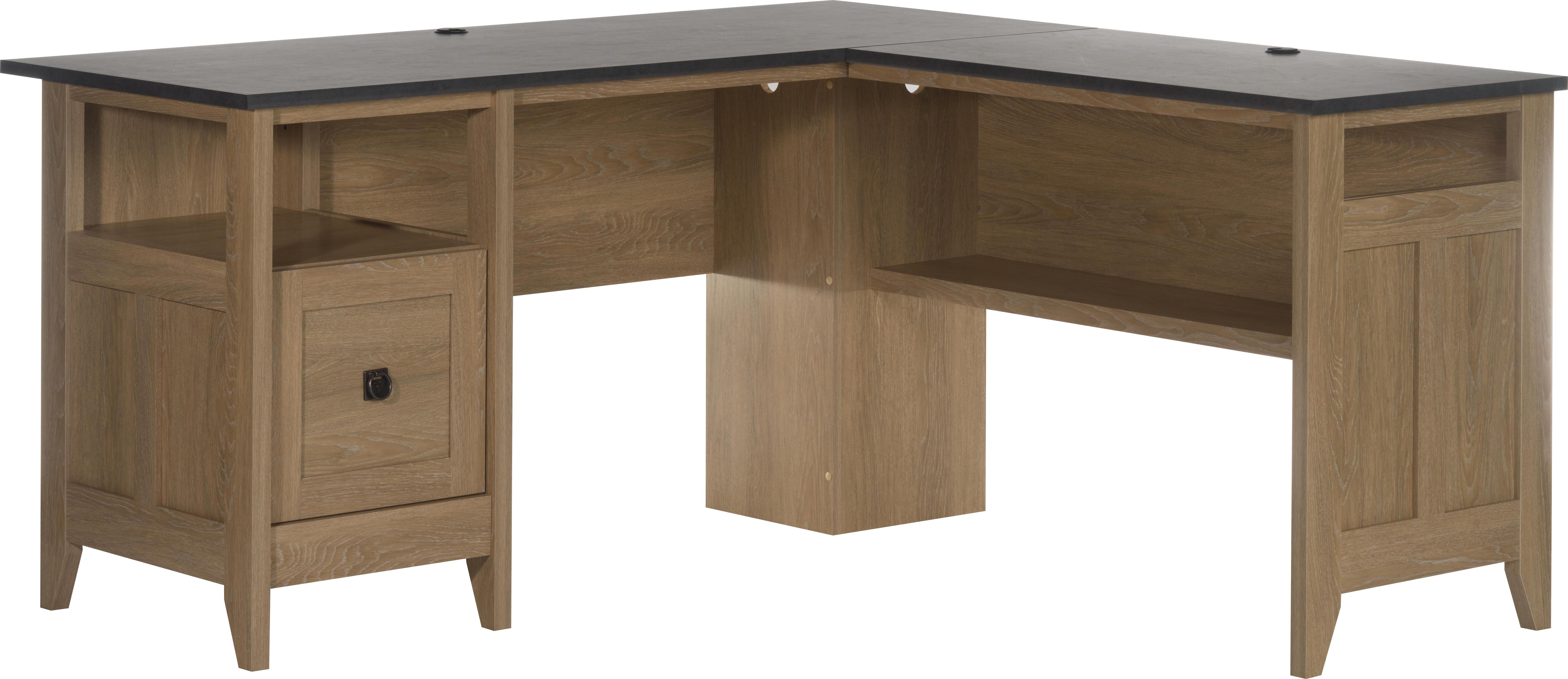 Teknik Office L-Shaped Executive Desk With Dover Oak Finish Stylish Slate Coloured Desktop