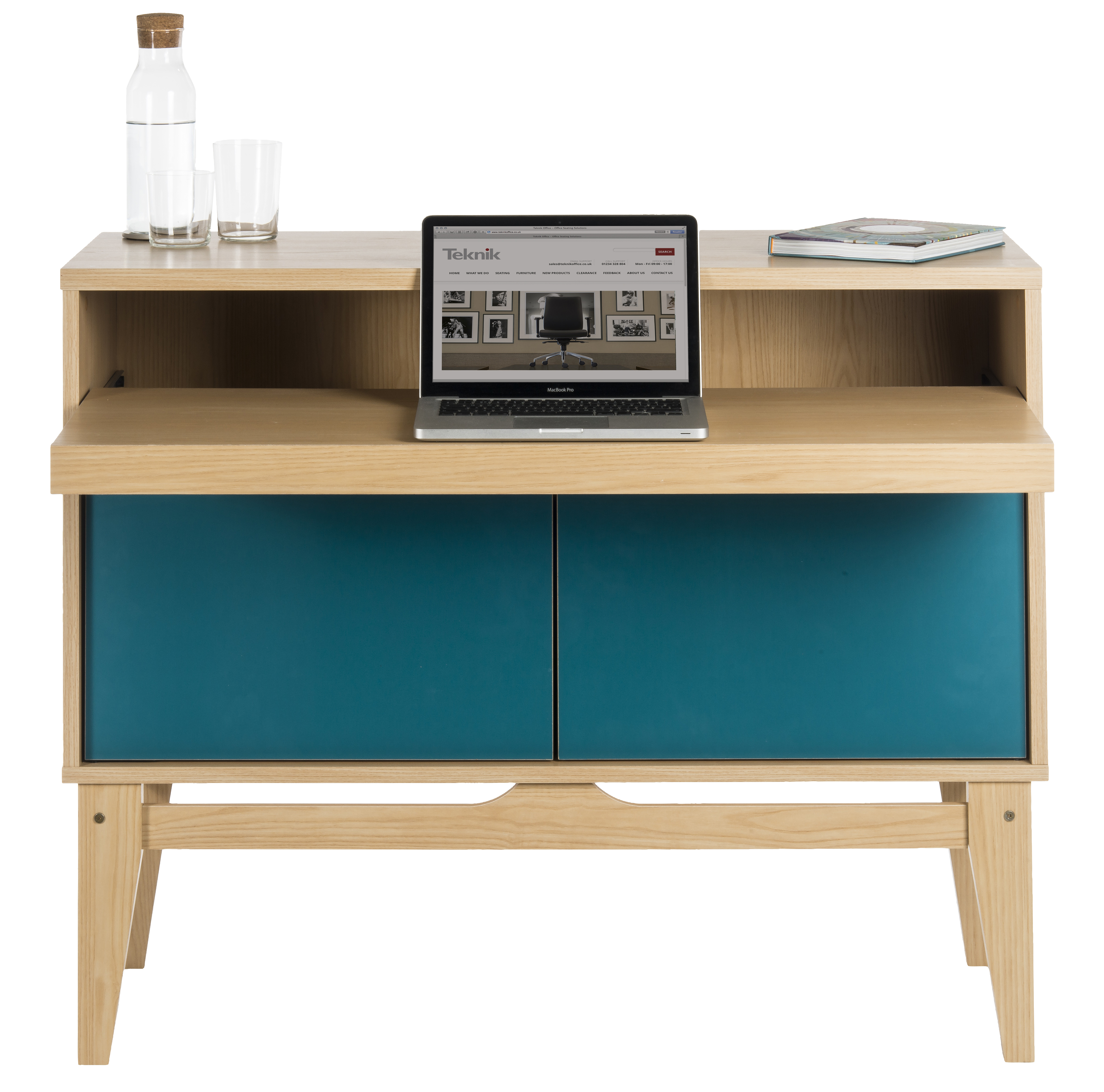 Teknik Office Ash Effect Contemporary Bureau With Optional Reversible Peacock Blue Doors