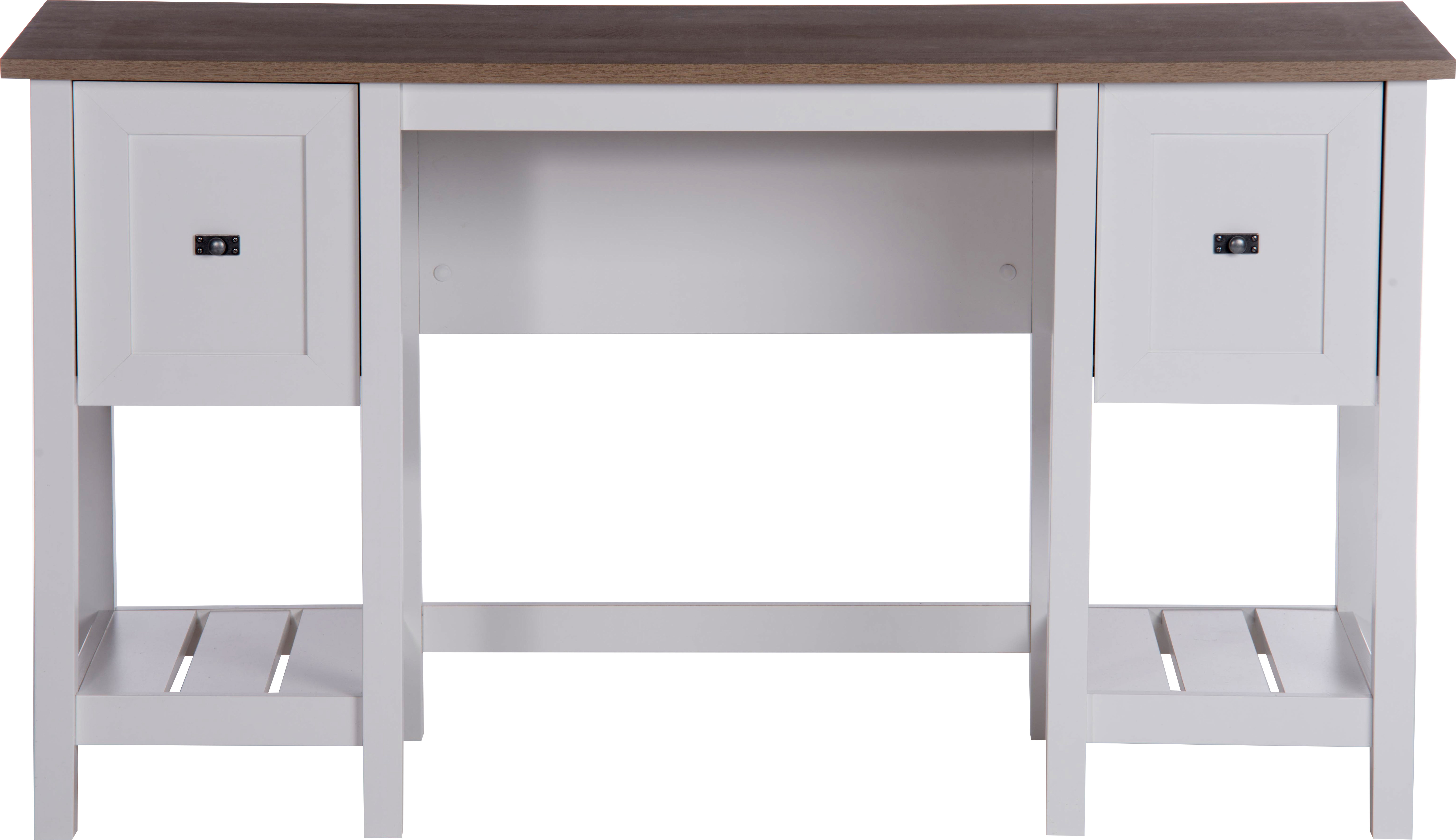 Teknik Office Shaker Style Desk In Soft White Contrasting Lintel Oak Accent Desktop One Letter Sized Filing Drawer And Shelf Storage
