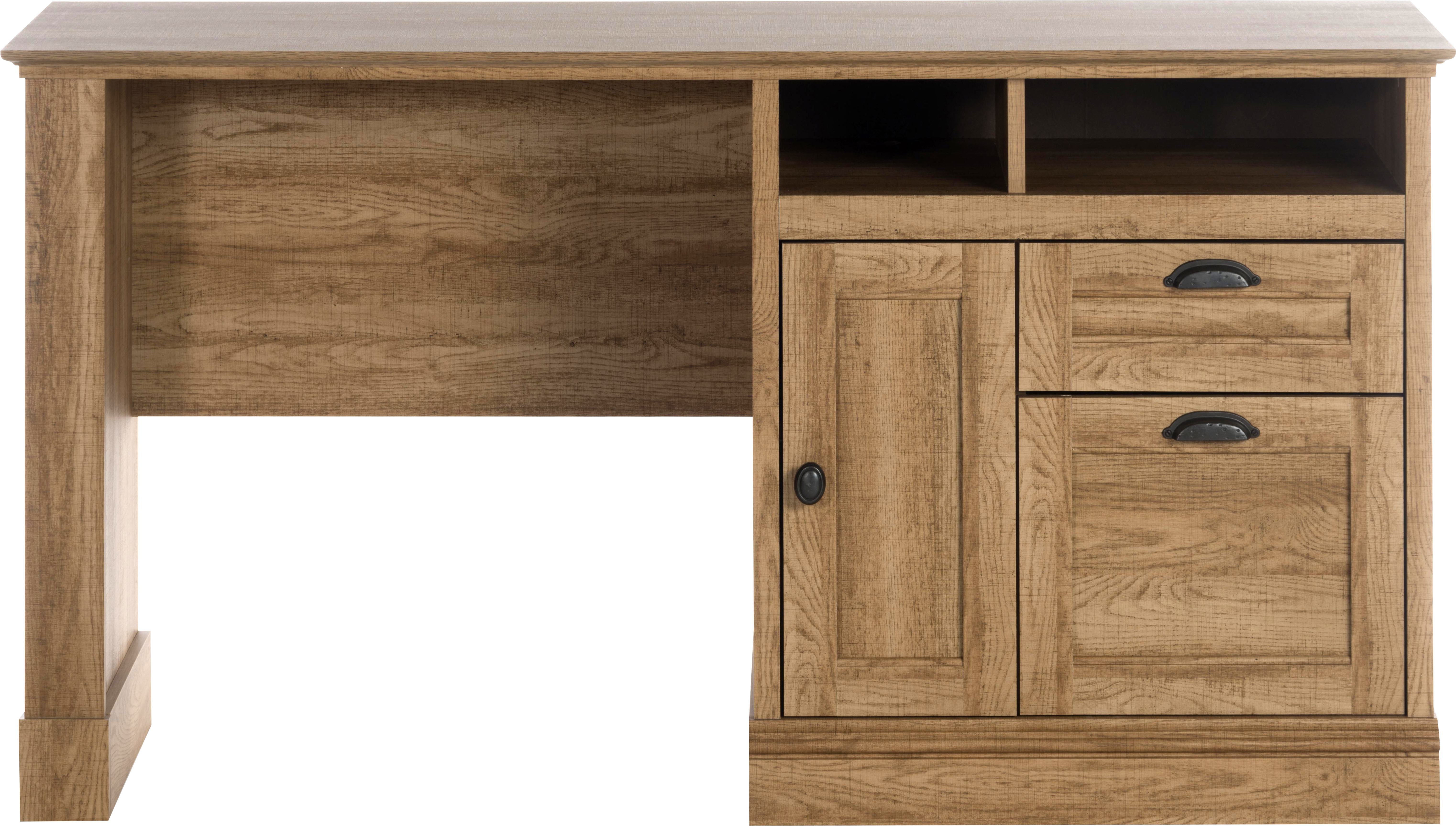 Teknik Office Scribed Oak Effect Storage Desk With Stationery Drawer Cubby Holes and Cupboard Extra Matching Hutch Can Be Purchased Separately