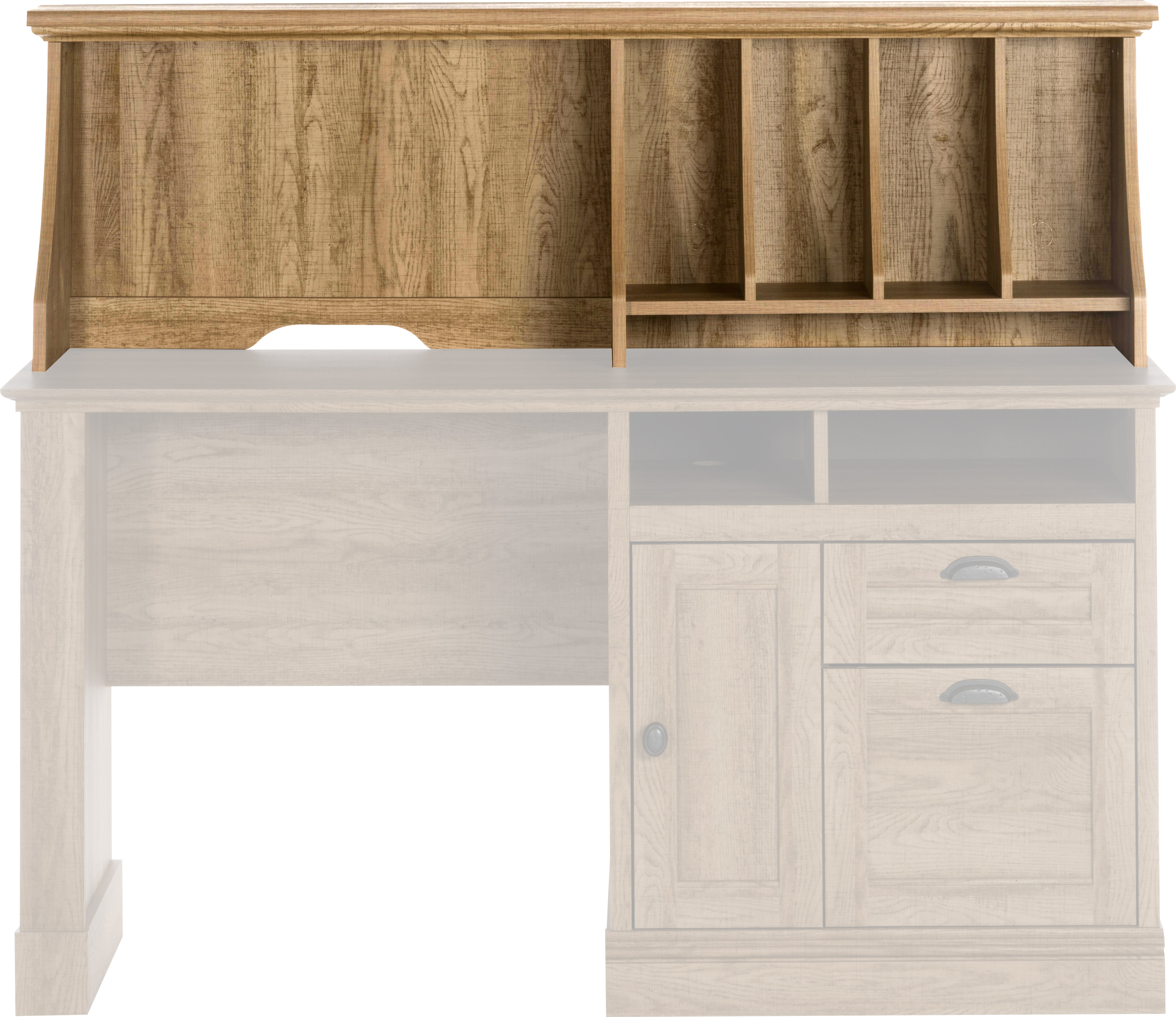 Teknik Office Hutch Option For Scribed Oak Storage Desk Complete With Stylish Scooped Stationery Dividers And Cable Access