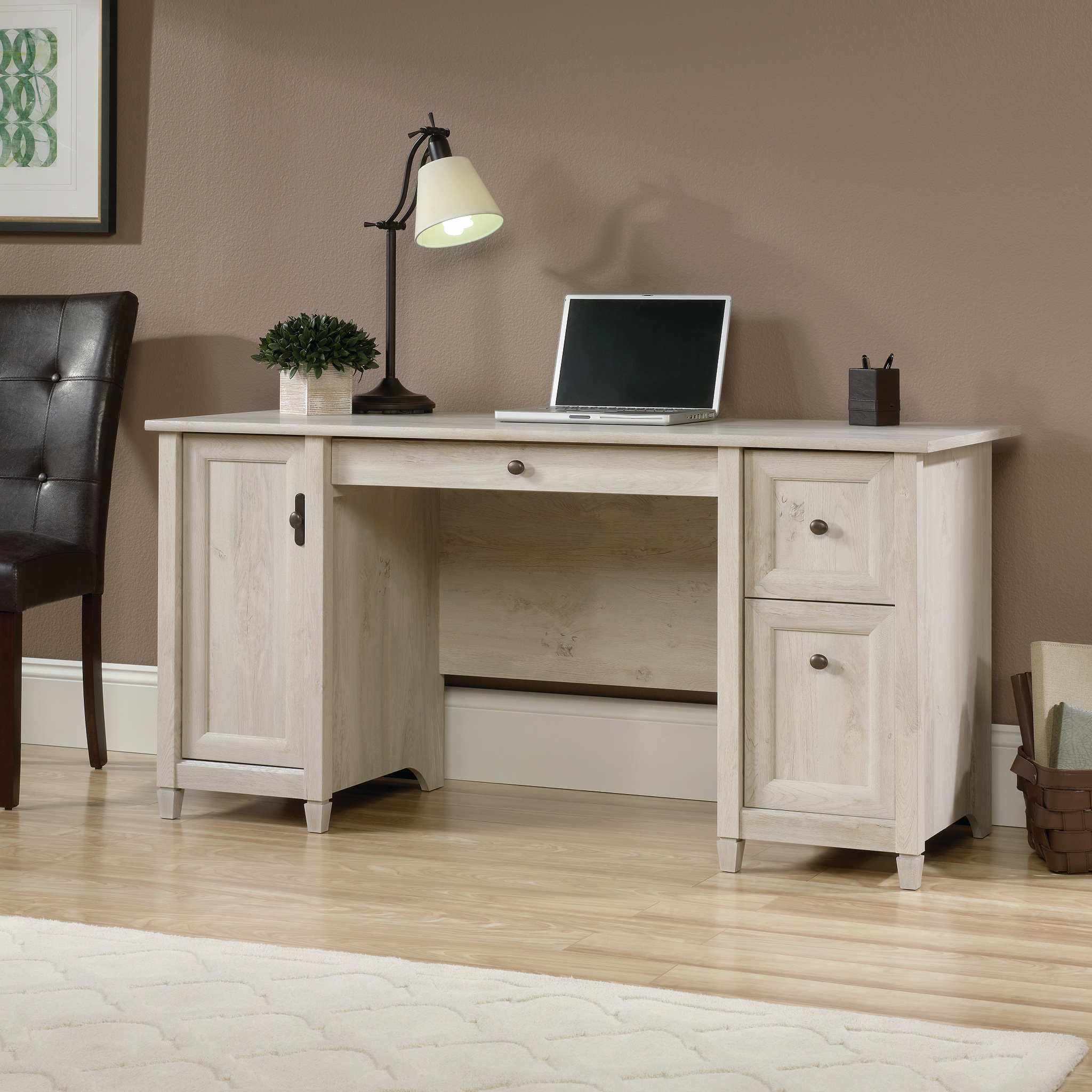 Teknik Office Chalked Wood Computer Desk with a chalked effect Chestnut Finish; two storage drawers; flip down keyboard drawer and vertical storage ar