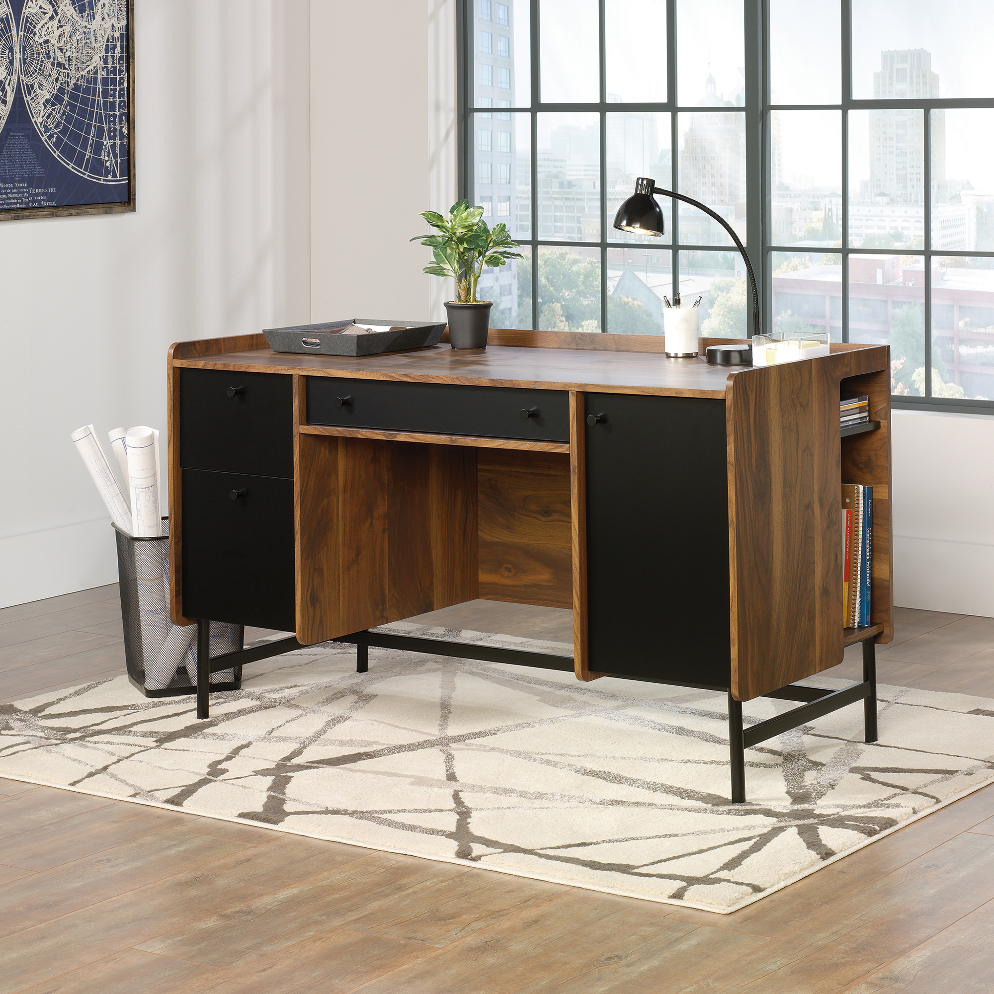 Teknik Office Hampstead Desk Grand Walnut effect finish spacious work area Two drawers with full extension slides Powdercoated contrasting metal base