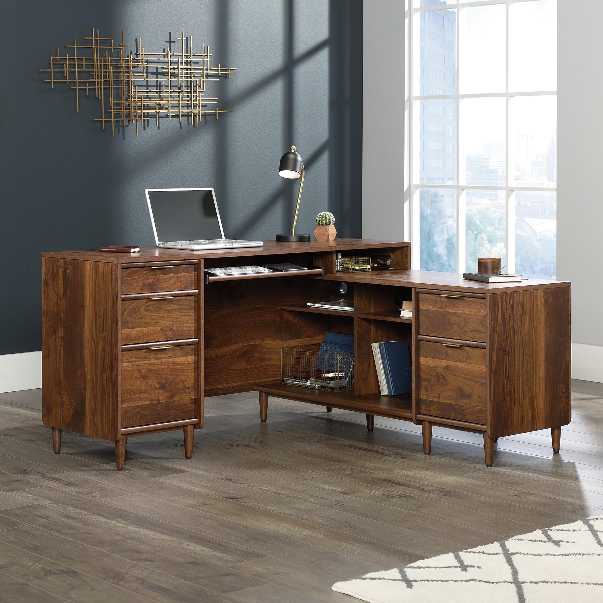 Teknik Office Clifton Place L-Shaped Executive Desk Grand Walnut effect finish Flip down keyboard shelf Cubby space Solid wooden feet