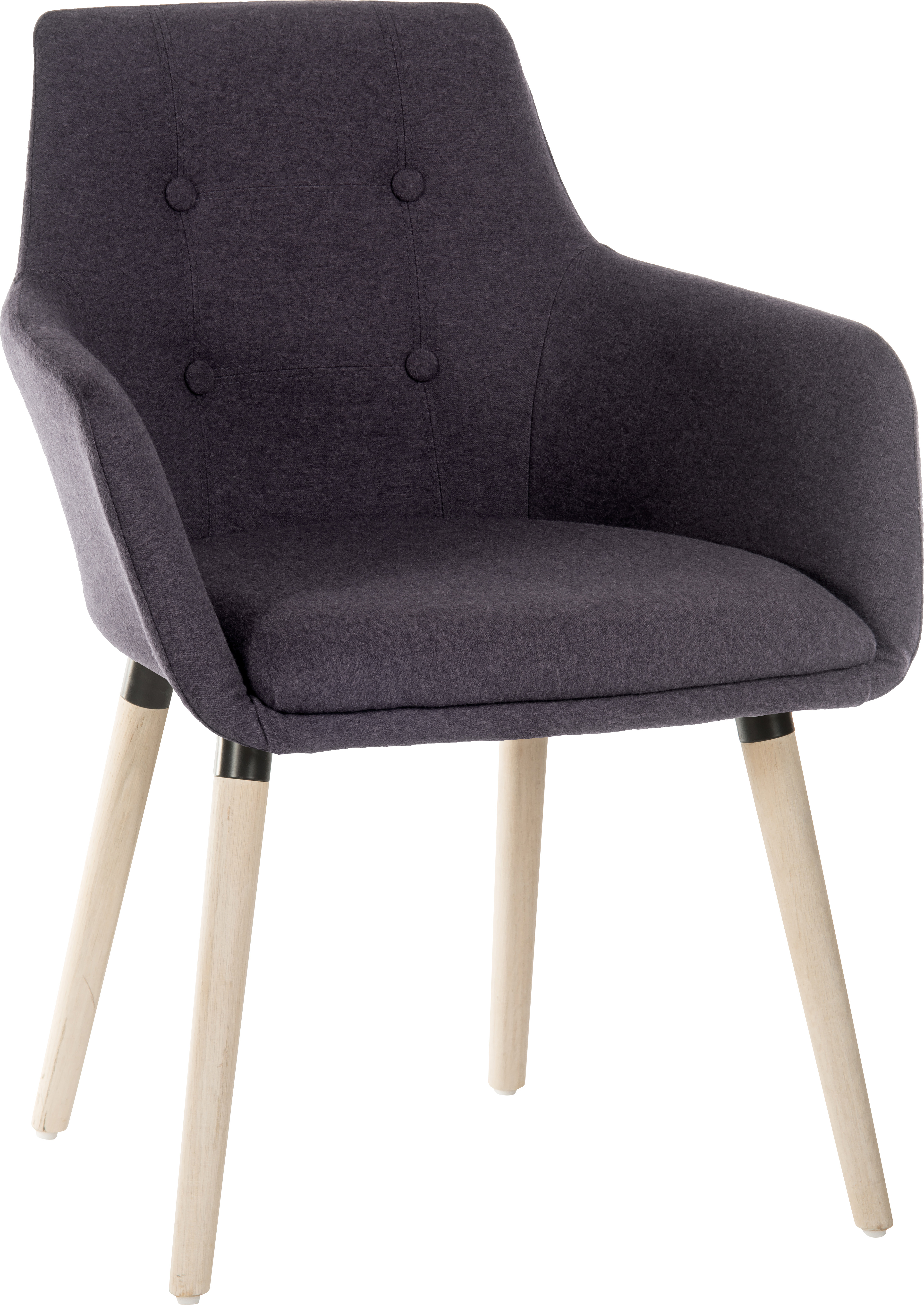 Teknik Office 4 Legged Reception Chair (Pack of 2) In Graphite Soft Brushed Fabric Oak Coloured Legs