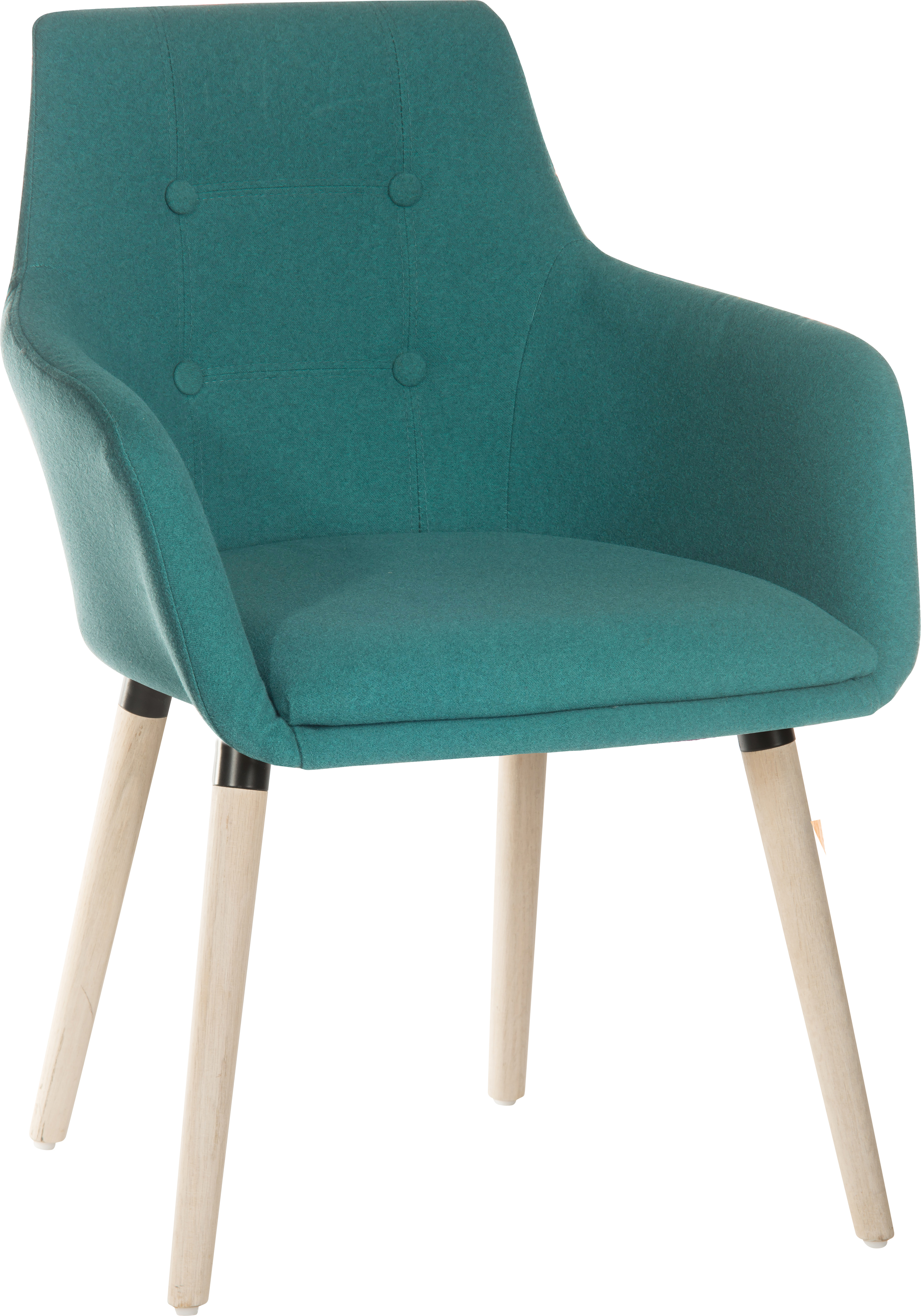 Teknik Office 4 Legged Reception Chair (Pack of 2) Jade Soft Brushed Fabric and Oak Coloured Legs