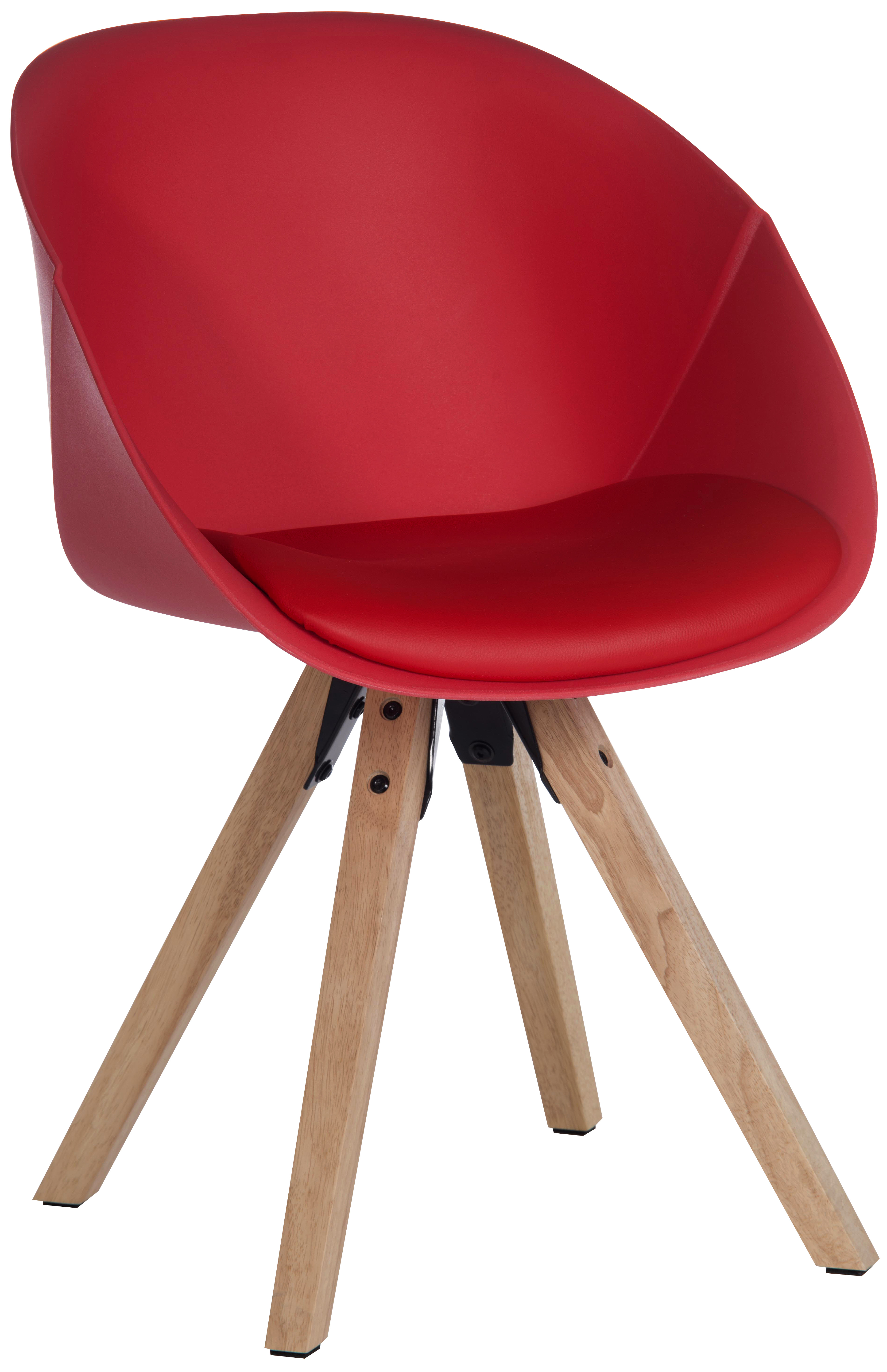 Teknik Office Red Pyramid Padded Tub Chair Soft Polyurethane and PU Fabric with Wooden Oak Legs Available in Black Red or White Packs of 2