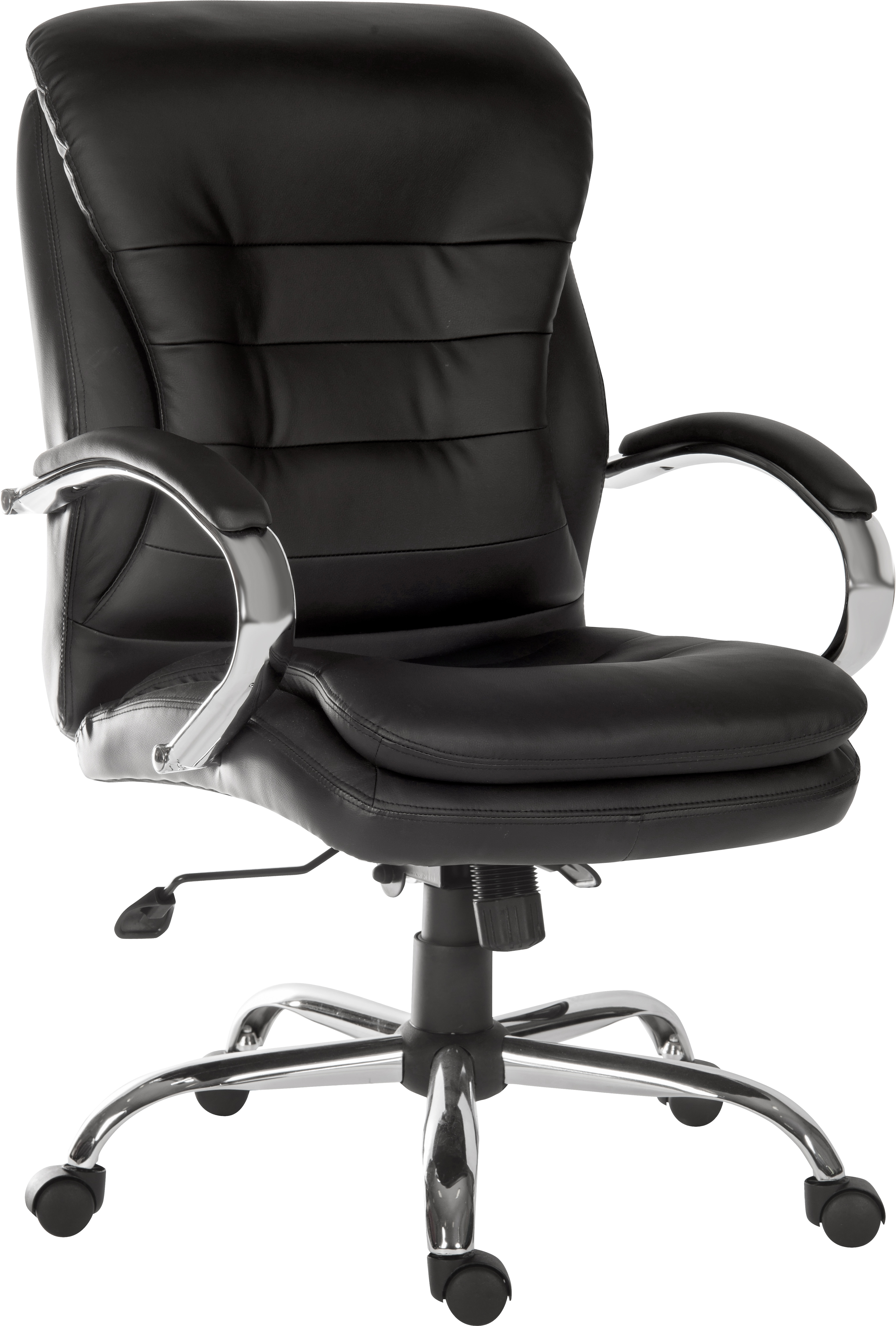 Teknik Goliath Light Executive Black Leather Faced Office Chair with Matching Padded Armrests and 150kg Rated Gas Lift
