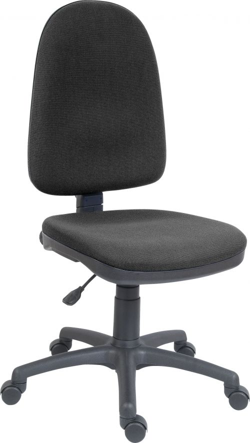 Teknik Office Price Blaster High Back Charcoal Fabric Operator Chair With Durable Nylon Base Accepts Optional Arm Rests