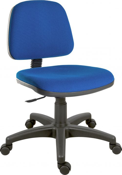 Teknik Office Ergo Blaster Blue Fabric Operator Chair Medium Sized Backrest Accepts Optional Arm Rests