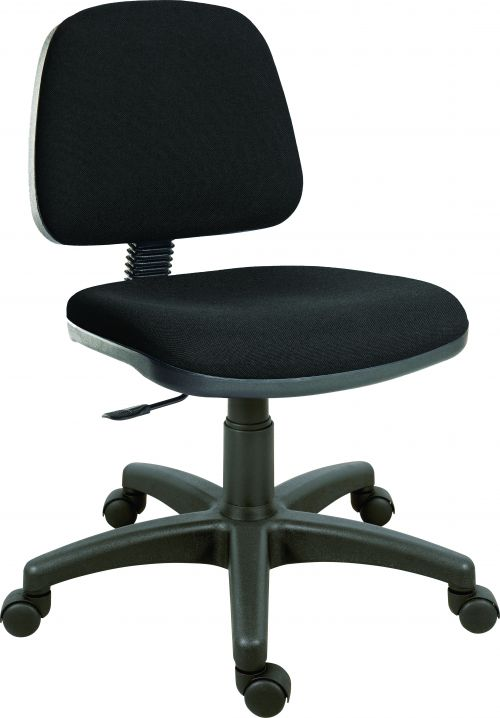 Teknik Office Ergo Blaster Black Fabric Operator Chair Medium Sized Backrest Accepts Optional Arm Rests