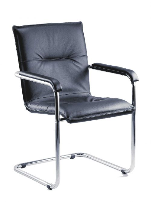 Teknik Office Black Envoy Cantilever Visitor Chair With Padded Seat Back and Matching Arms