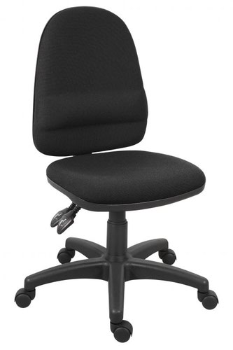 Teknik Office Ergo Twin Black Fabric Operator Chair Pronounced Lumbar Support Sturdy Nylon Base Optional Arm Rests