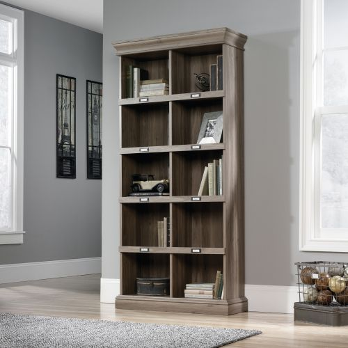 Image for Teknik Office Barrister Home Tall Bookcase in Salt Oak Finish with Ten Cubby Holes and Contrasting Metal Identification Tags