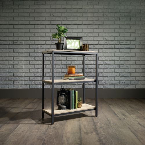 Image for Teknik Office Industrial Style 2 Shelf Bookcase Durable Black Metal Frame Charter Oak Effect Generously Sized Shelves