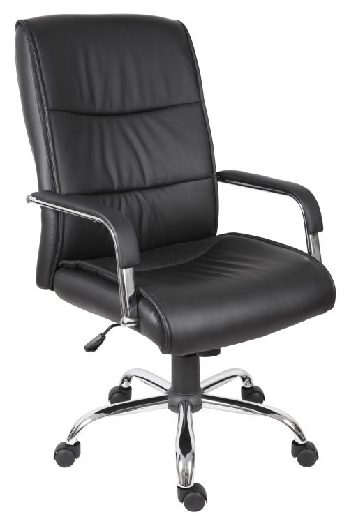 Teknik Office Kendal Black Luxury Office Chair Matching Padded Arm Covers and Chrome Five Star Base