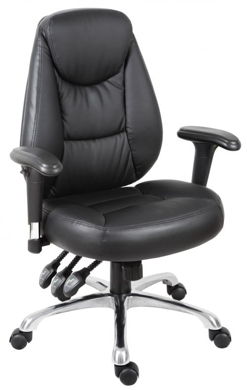 Teknik Office Portland Black Operator Faux Leather Chair with Removable Height Adjustable Armrests and Chrome Base