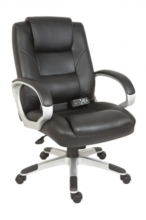 Teknik Office Lumbar Massage Black Faux Leather Executive Chair with Matching Capped Five Star Base