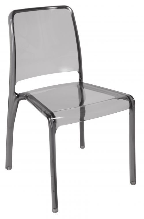 Teknik Office Clarity Smoked Stackable Translucent Polycarbonate Chair Sold In Packs Of 4