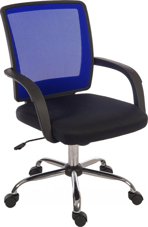 Teknik Office Star Mesh Blue Back Executive Chair With Contrasting Matching Black Fabric Seat Fixed Nylon Armrests