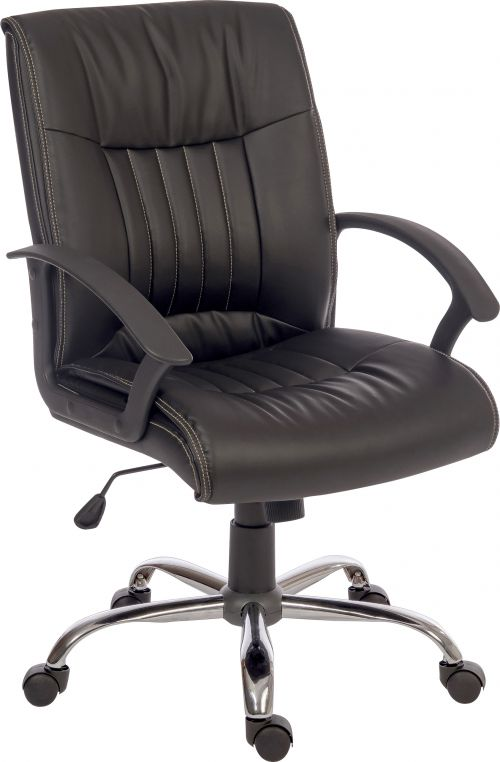 Teknik Office Milan Leather Faced Executive Office Chair Nylon Armrests and Chrome Five Star Base