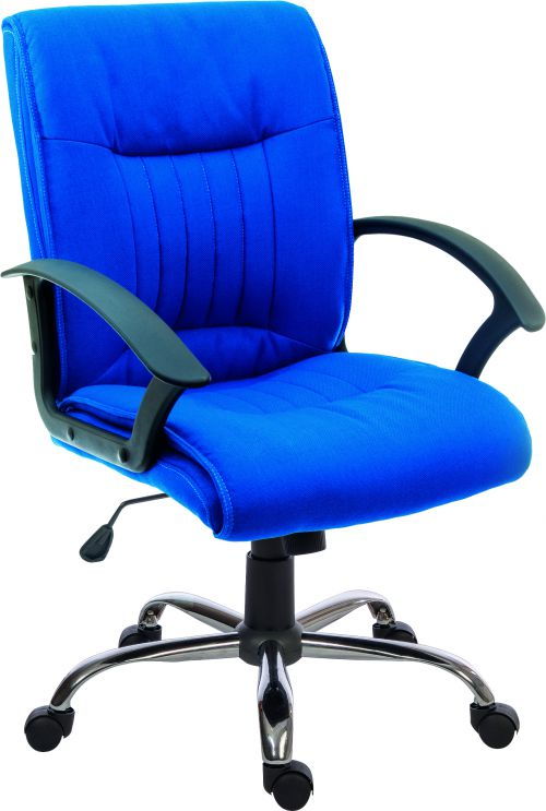 Teknik Office Milan Blue Fabric Executive Office Chair Durable Nylon Armrests And Chrome Five Star Base