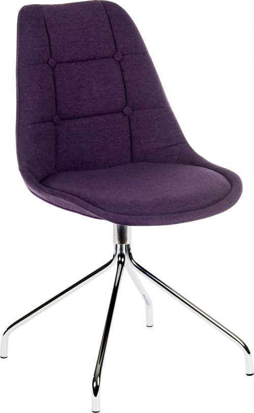 Teknik Office Breakout Chair (Pack of 2) Plum Soft Brushed Fabric And Modern Chrome Legs