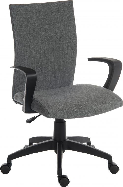 Teknik Office Work Chair In Grey Fabric Black Nylon Fixed Armrests and Black Nylon Pyramid Style Base