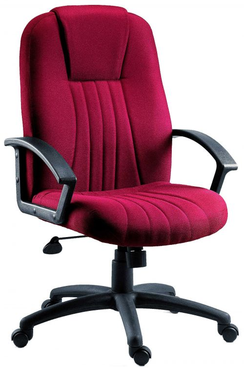 Teknik Office City Burgundy Fabric Executive Office Chair Durable Nylon Armrests and Matching Five Star Base