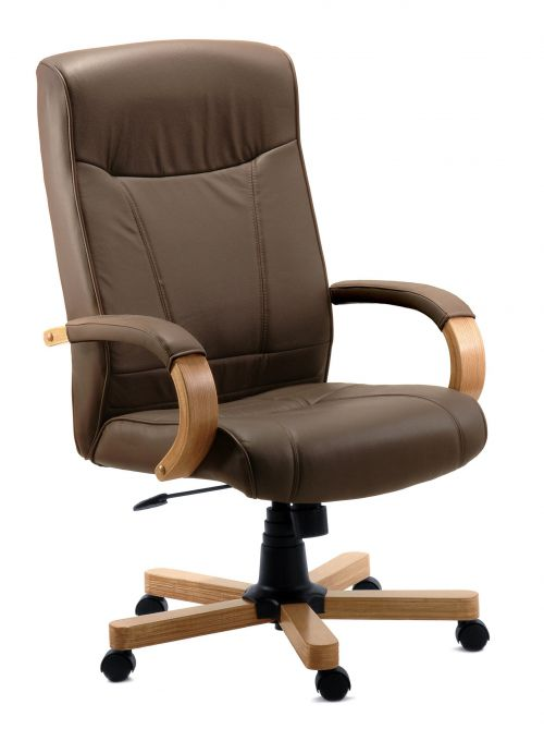 Teknik Office Richmond Brown Bonded Leather Executive Chair With Matching Removable Padded Armrests