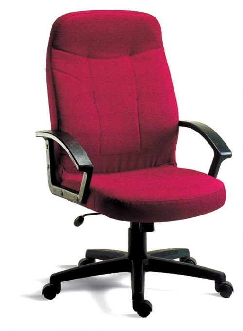 Teknik Office Mayfair Burgundy Fabric Executive Office Chair Durable Nylon Armrests and Matching Five Star Base