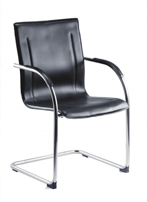 Teknik Office Guest Black Leather Look Reception Chair Chrome Cantilever Frame Available as Singles or Packs of 5