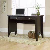 Teknik Office Jamocha Wood Effect Laptop Home Office Study Desk With Stationery And Keyboard Drawer