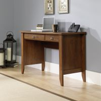 Teknik Office Oiled Oak Effect Laptop Home Office Study Desk With Stationery And Keyboard Drawer