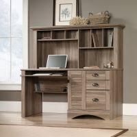Teknik Office Louvre Hutch Desk in a Salt Oak Finish with Slide Out Keyboard/Mouse Shelf Multiple Storage Cubbyholes Within Hutch and Filer Drawer