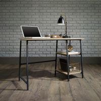 Teknik Office Industrial Style Bench Durable Black Metal Frame Charter Oak Effect Desktop With 2 Matching Storage Shelves
