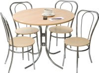 Teknik Office Bistro Set Deluxe Round Beech Effect Bistro Table And 4 Bistro Deluxe Chairs