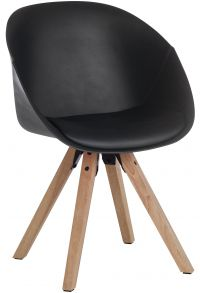 Teknik Office Black Pyramid Padded Tub Chair Soft Polyurethane and PU Fabric with Wooden Oak Legs Available in Black Red or White Packs of 2