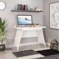 Teknik Office Towson Trestle Desk White Stylish Curve Desktop Angled Legs