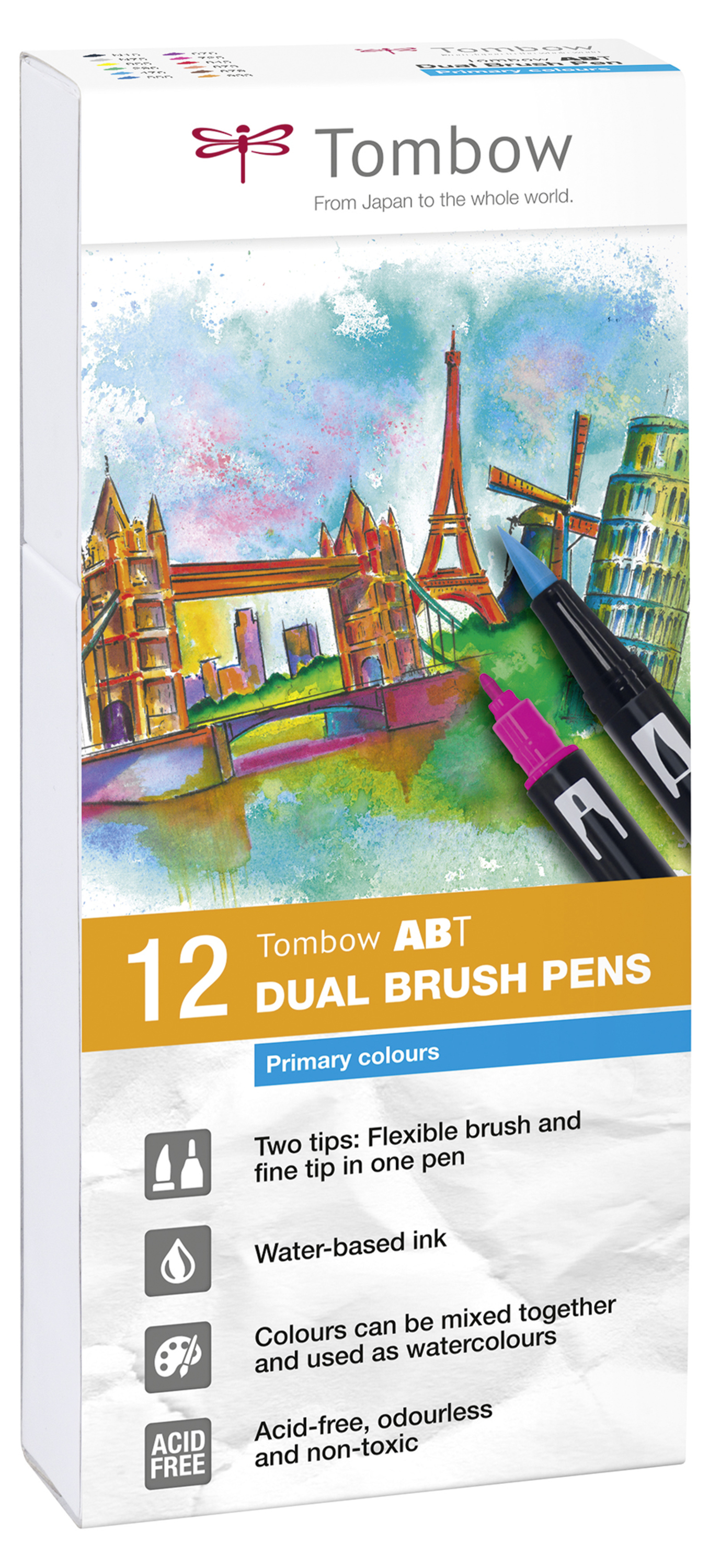 Tombow ABT Dual Brush Pen 2 tips Primary Colours PK12