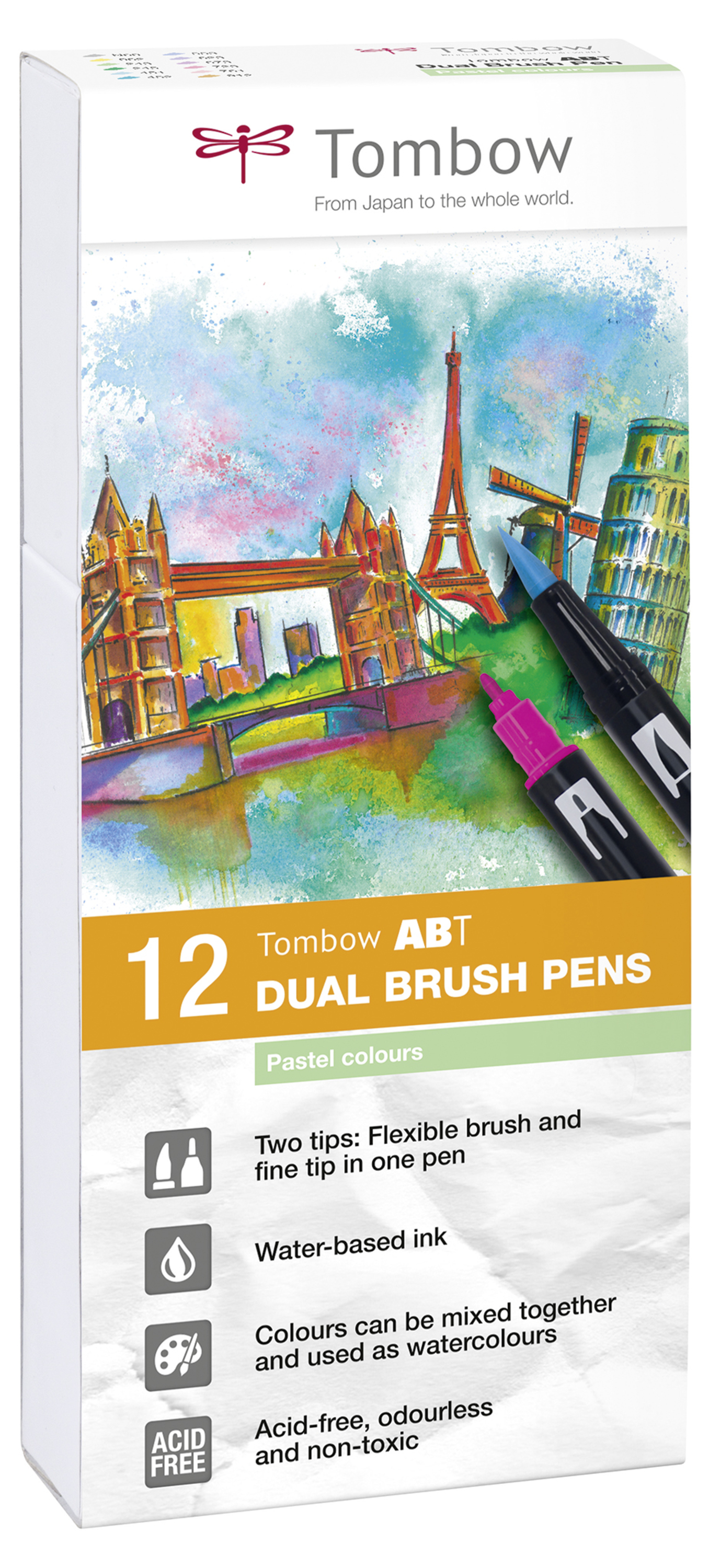Tombow ABT Dual Brush Pen 2 tips Pastel Colours PK12