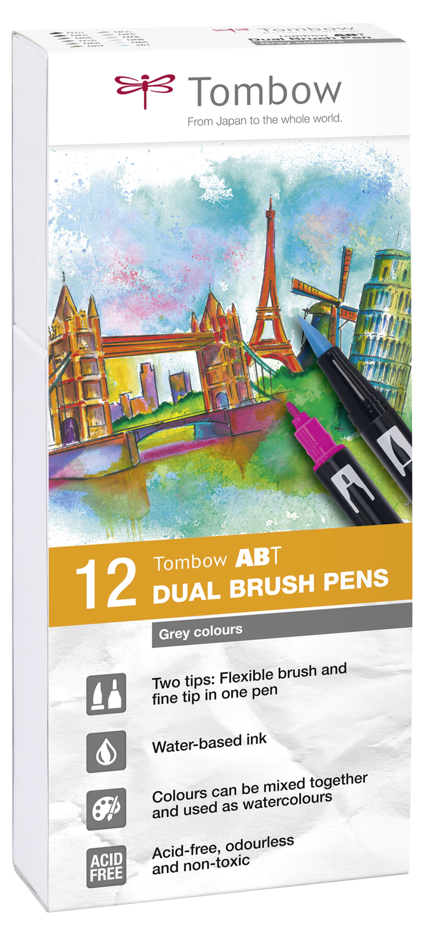 Tombow ABT Dual Brush Pen 2 tips Grey Tones PK12