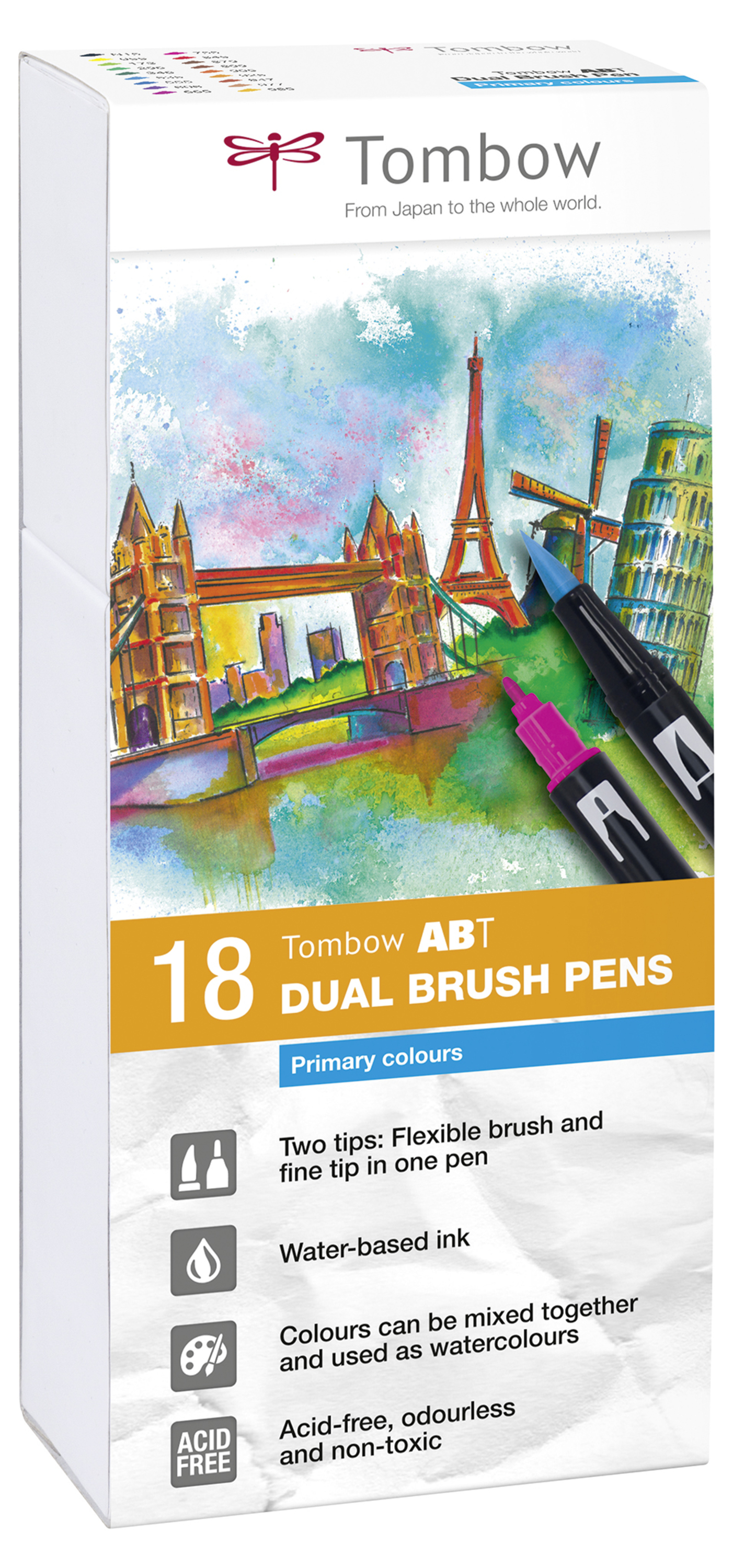 Tombow ABT Dual Brush Pen 2 tips Primary Colours PK18