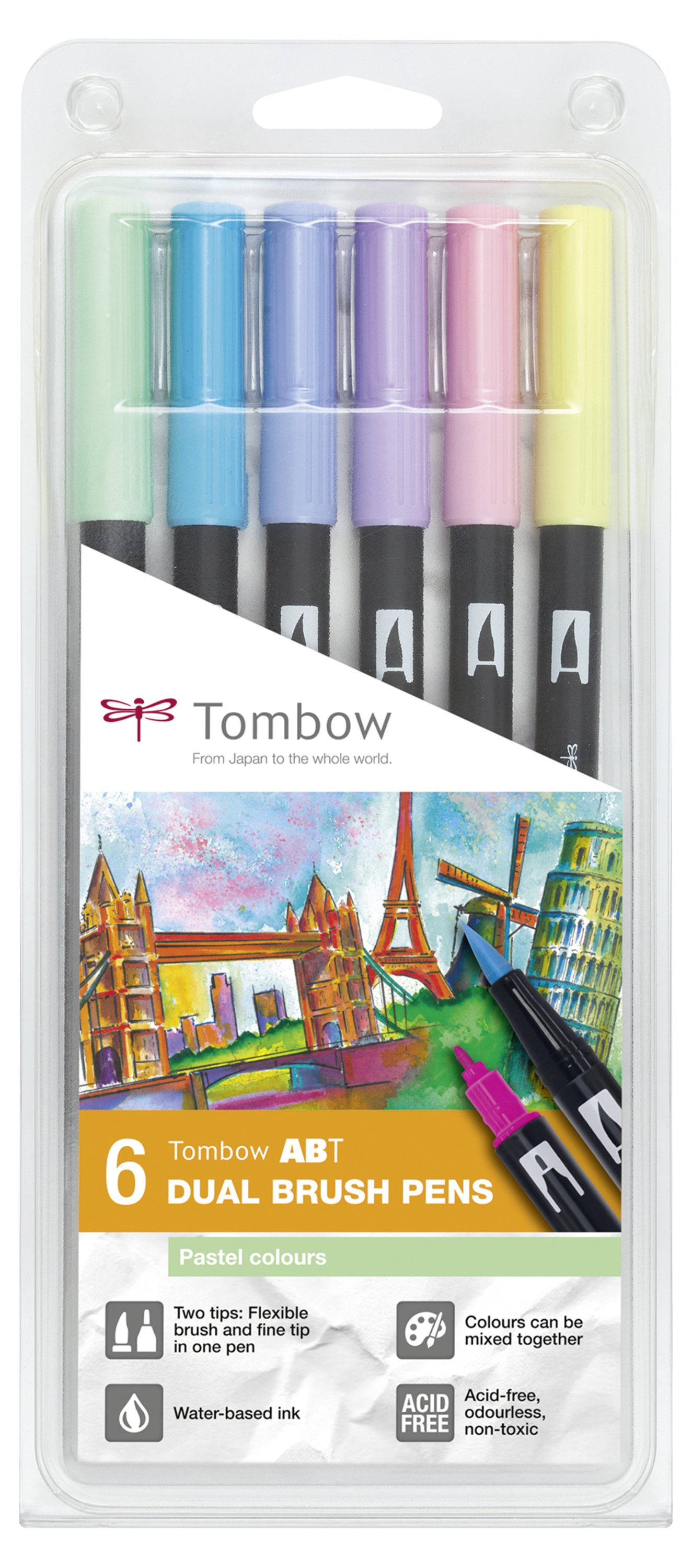 Tombow ABT Dual Brush Pen 2 tips Pastel Colours PK6
