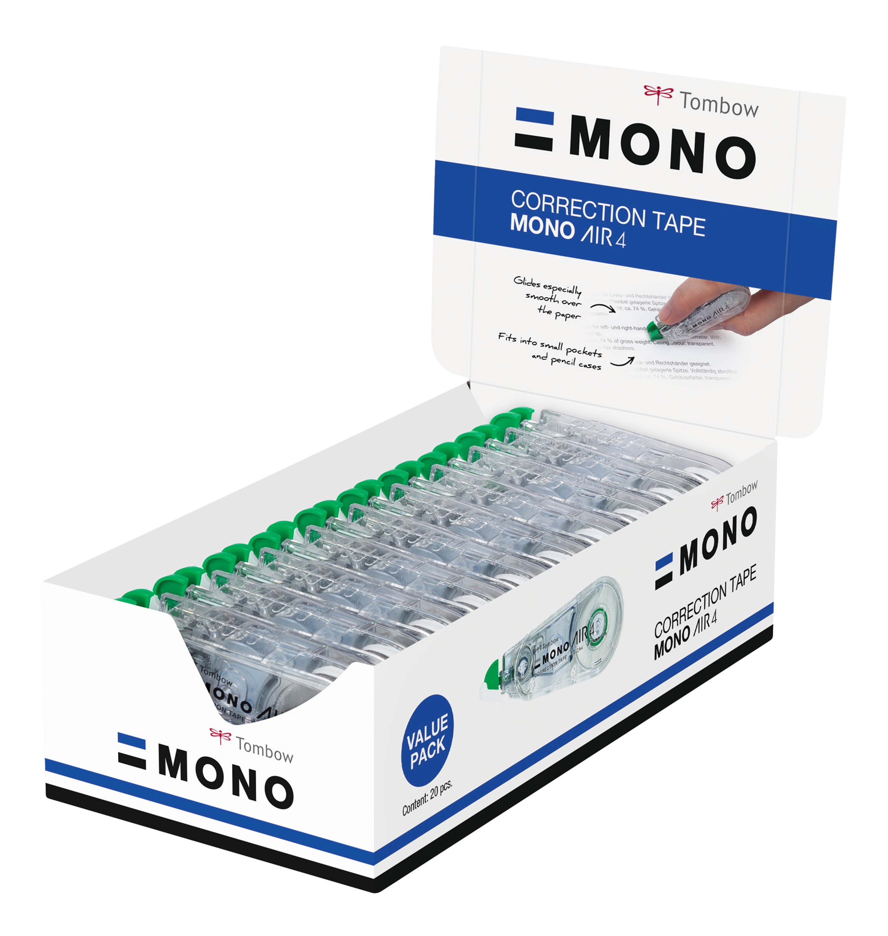 Correction Tape Tombow MONO Air Correction Tape Roller 4.2mmx10m White (Pack 15 Plus 5)