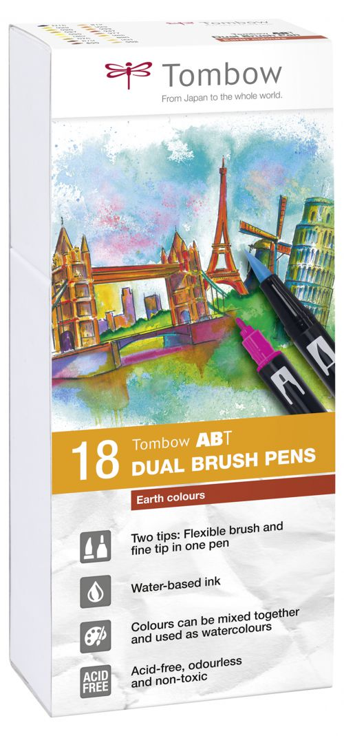Tombow ABT Dual Brush Pen 2 tips Earth Colours PK18