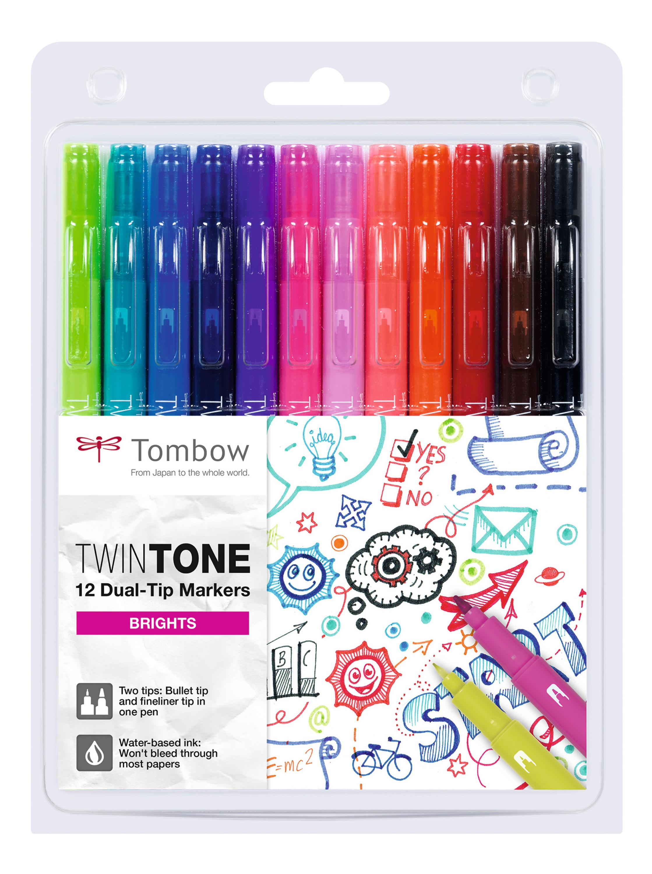 Colouring Pens Tombow Dual Tip Twintone Bright Pens PK12