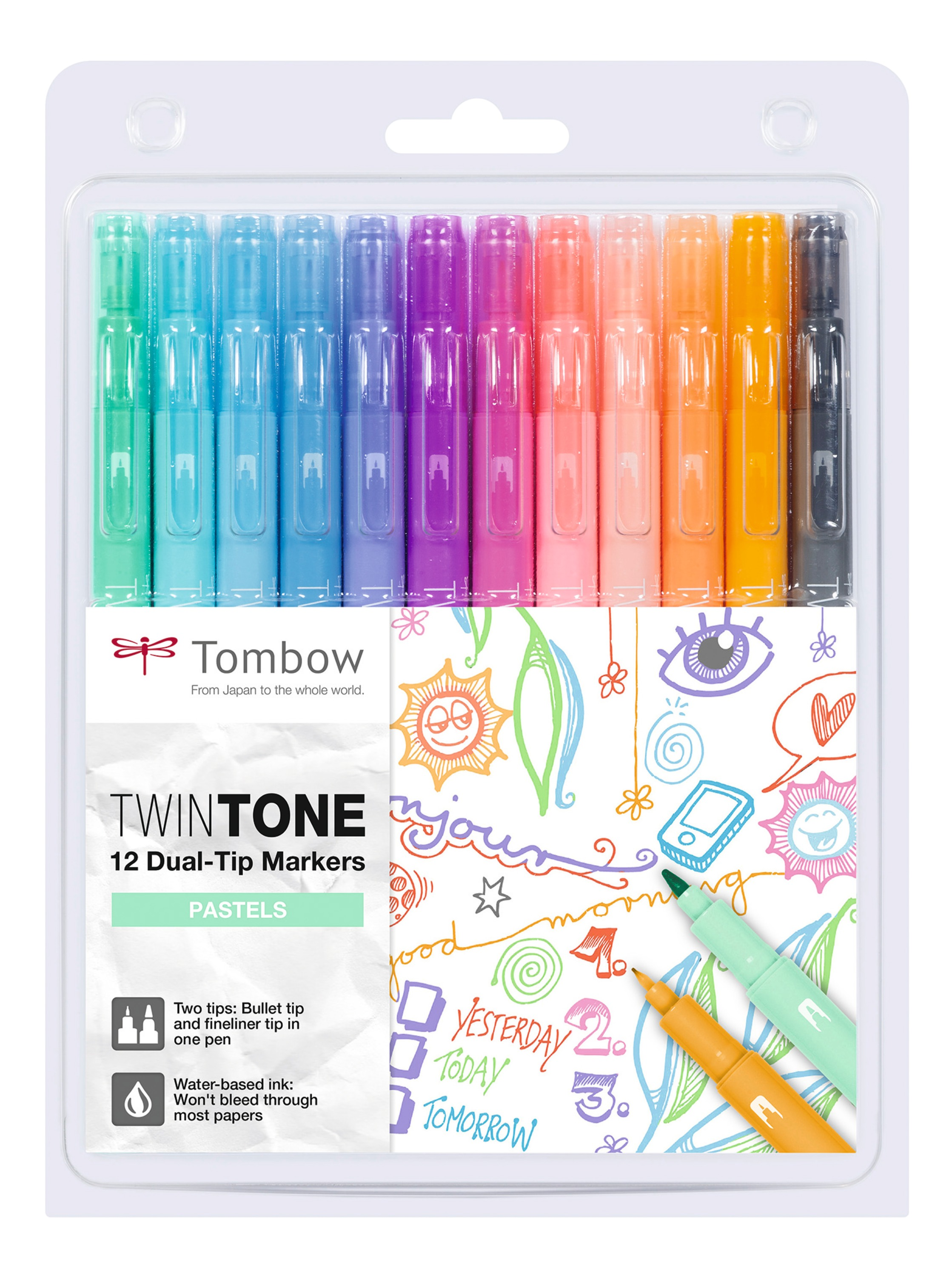 Tombow TwinTone Dual Tip Marker 0.8mm and 0.3mm Line Pastel Assorted Colours (Pack 12)